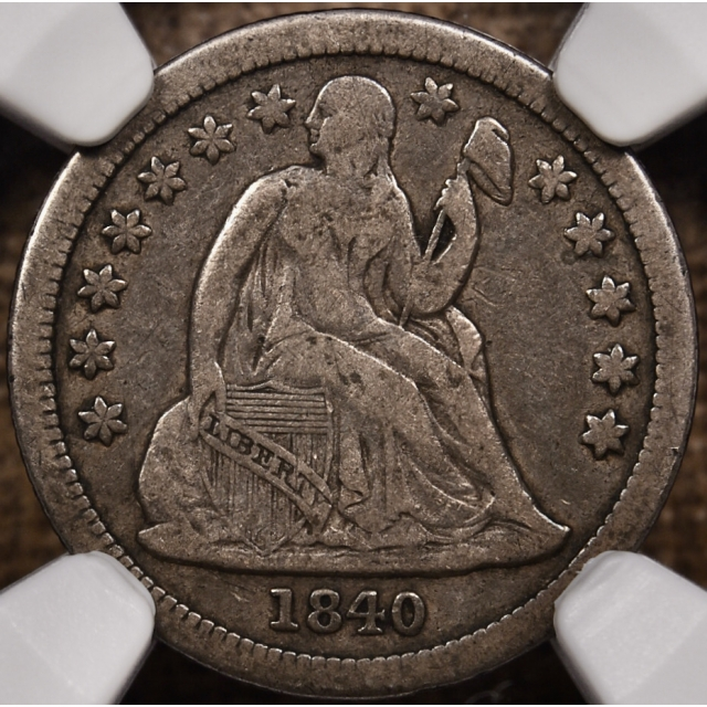 1840 F-101 w/ Drapery Seated Liberty Dime NGC VF20 CAC