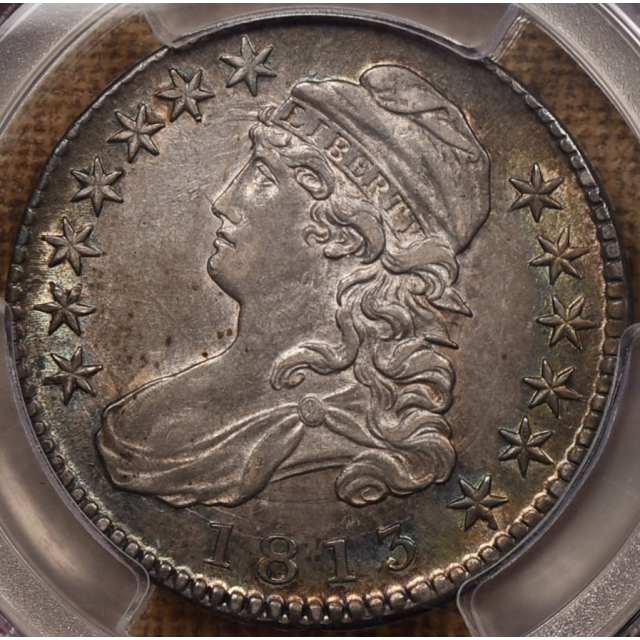 1813 O.105 Capped Bust Half Dollar PCGS AU53 CAC, album toning