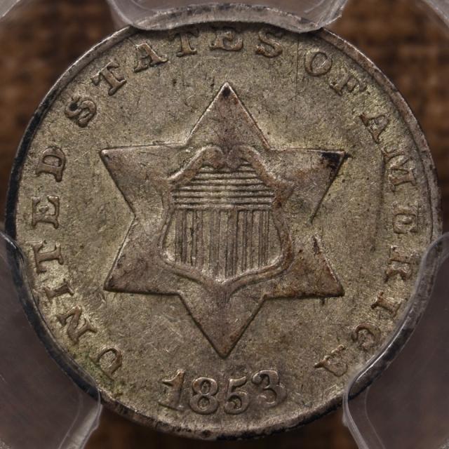 1853 Three Cent Silver PCGS AU53