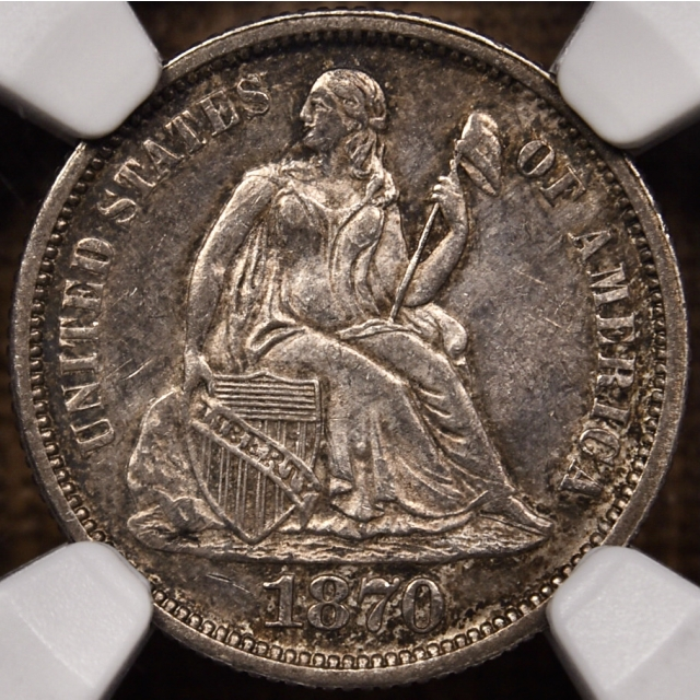 1870 F-101a R4 Seated Liberty Dime NGC MS63 CAC