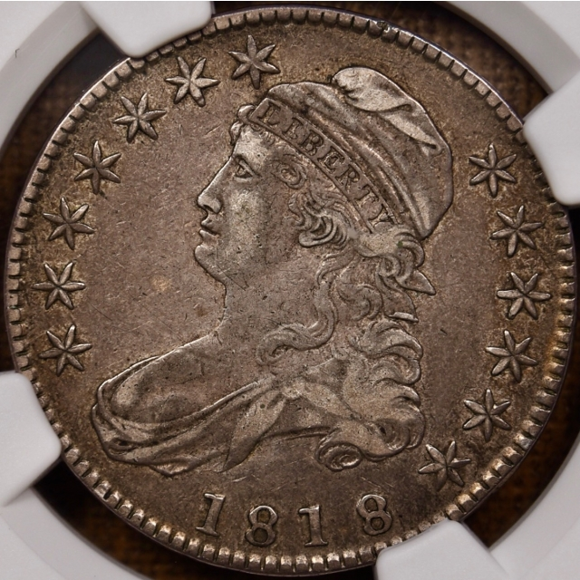 1818 O.115 R5 Capped Bust Half Dollar NGC XF40, Early Die State
