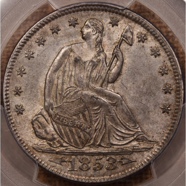 1853 Arrows and Rays Liberty Seated Half Dollar PCGS MS61 CAC, EJ part 3