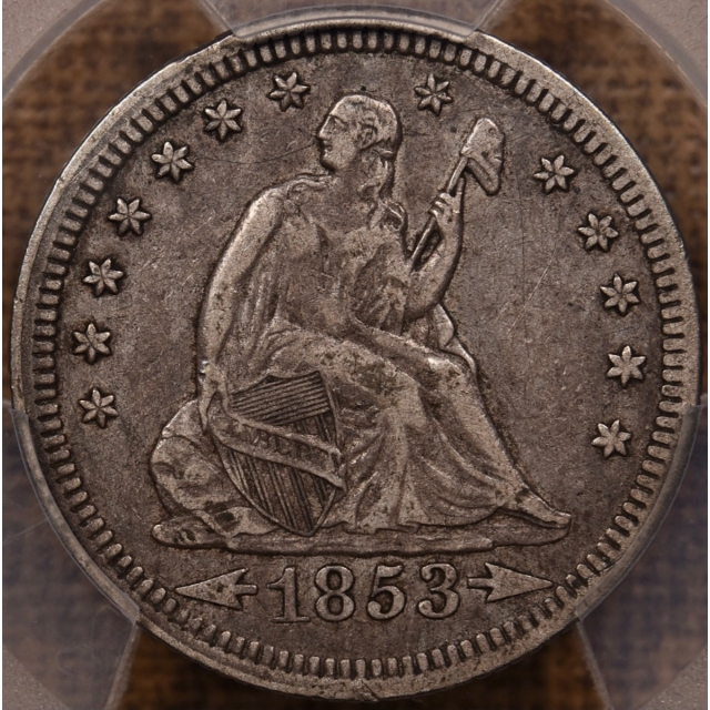 1853 Arrows and Rays Liberty Seated Quarter PCGS XF40