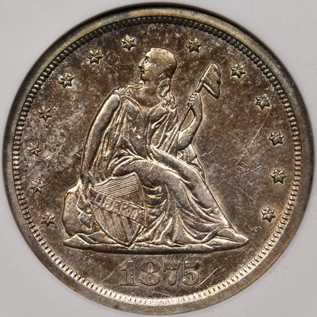 1875-S BF-1 Twenty Cent old ANACS AU55, the Proof Dies