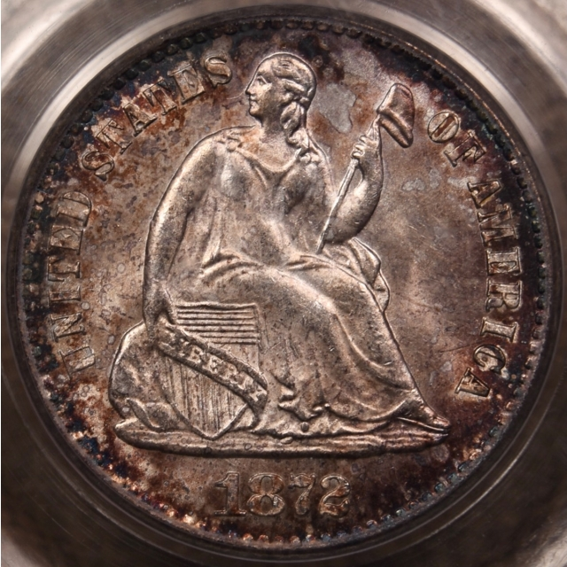 1872-S Liberty Seated Half Dime PCGS MS64 OGH CAC, I grade 65 w/Plus eye appeal!