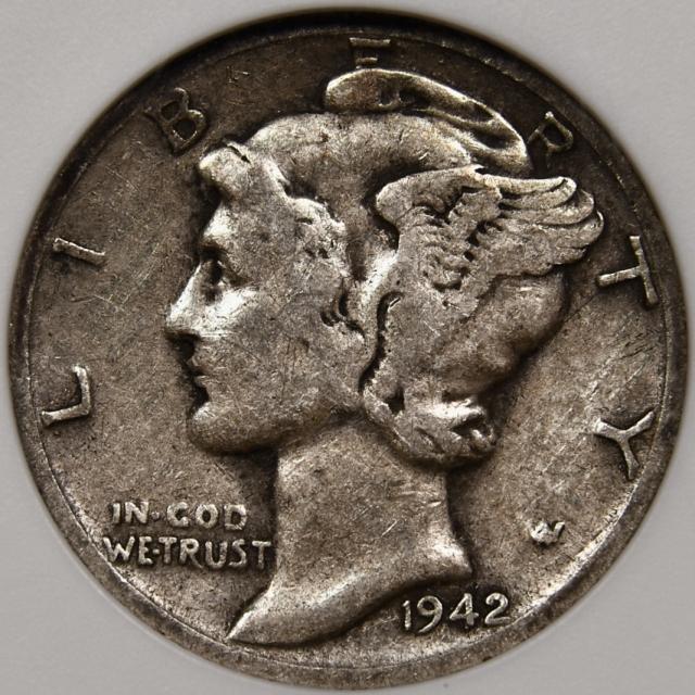 1942/1 Mercury Dime old ANACS VG8 Cache