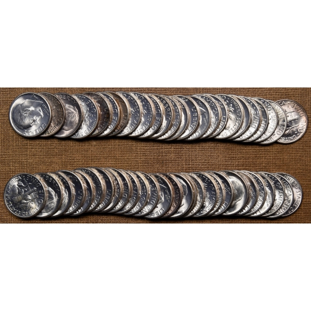 1946-S Original BU Roosevelt Dime roll, two of two