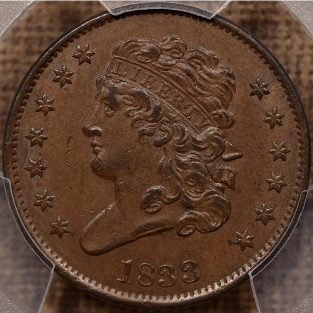 1833 Classic Head Half Cent PCGS AU58 CAC