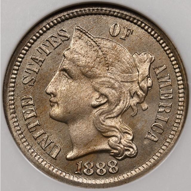 1888 Three Cent Nickel NGC PF66 CAC, No-Line Fatty