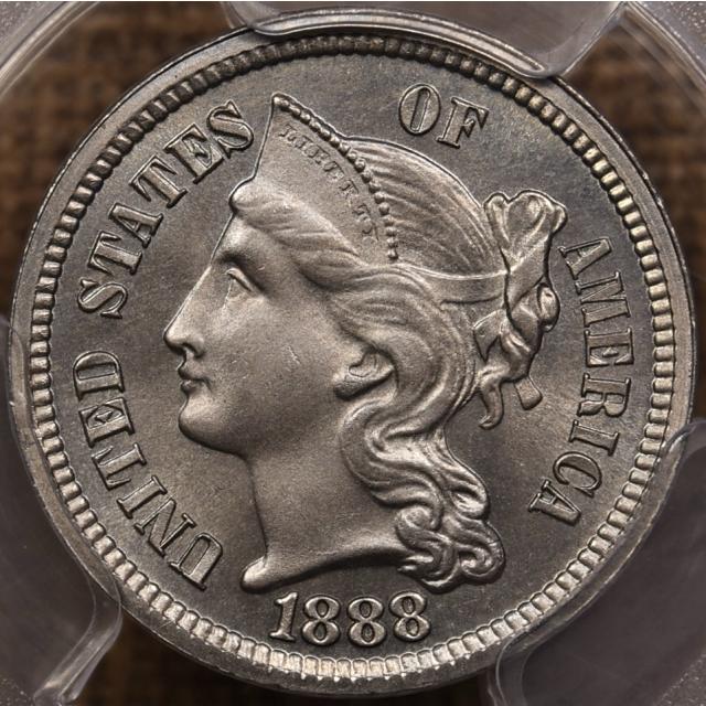 1888 Proof Three Cent Nickel PCGS PR65 CAC