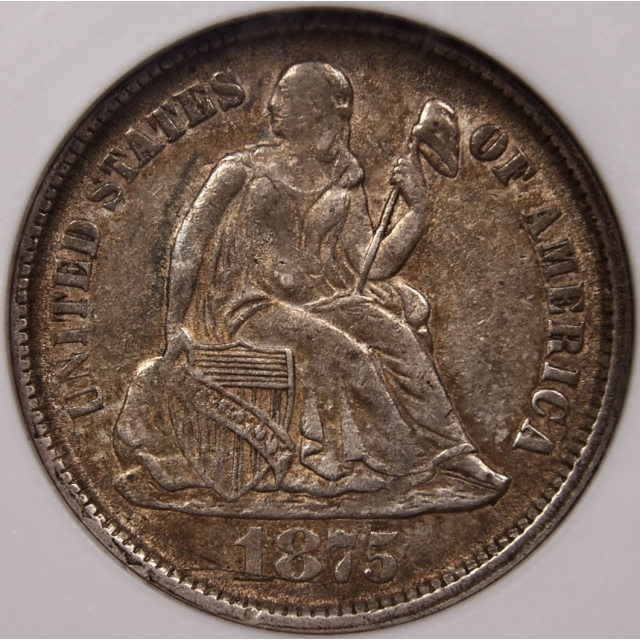 1875-CC F-107 R5 CC Below Seated Liberty Dime NGC AU55