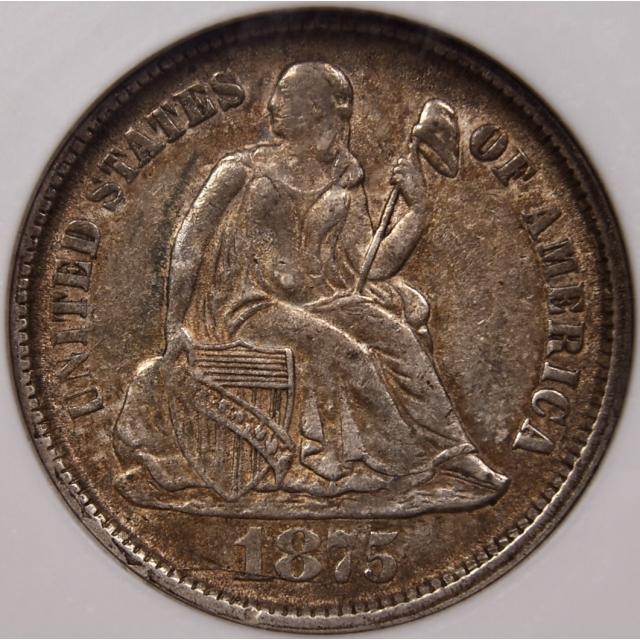 1875-CC F-107 R5 CC Below Seated Liberty Dime NGC AU55