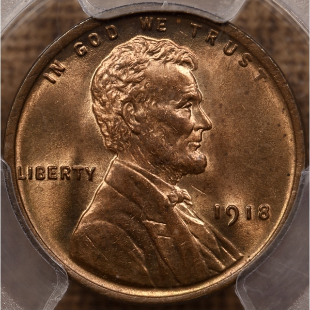 1918 Lincoln Cent PCGS MS64 RB
