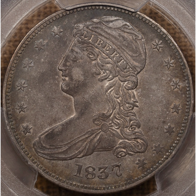 1837 GR-13 Capped Bust Half Dollar, PCGS AU53 CAC, From the Dick Graham Reference Collection