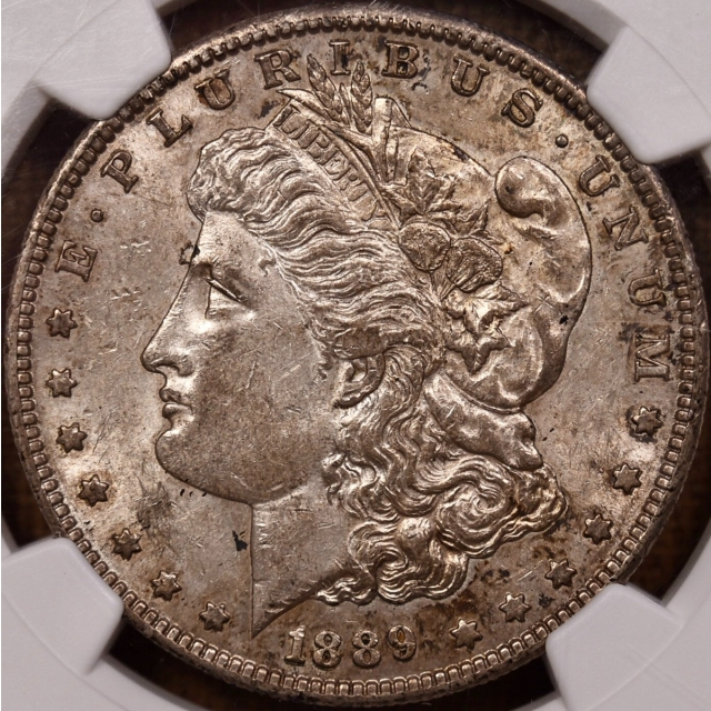 1889-S Morgan Dollar NGC AU55, gem gray dirt