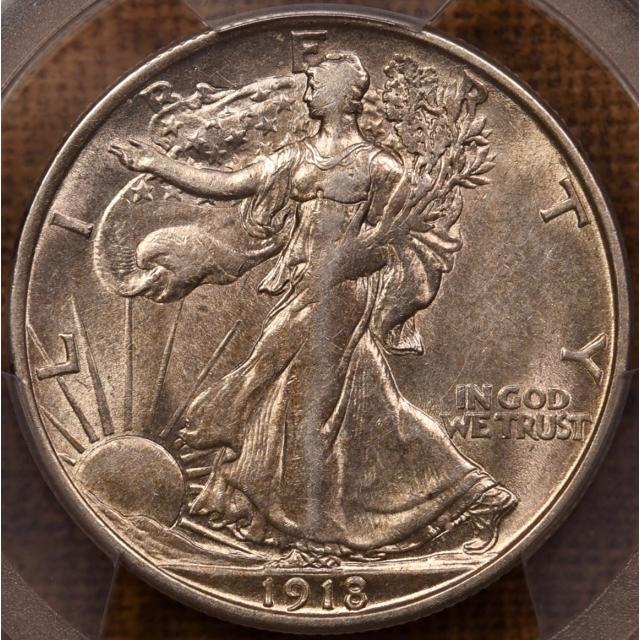1918-D Walking Liberty Half Dollar PCGS AU55 CAC