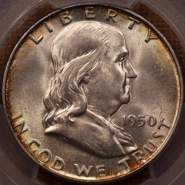 1950-D Franklin Half Dollar PCGS MS64 FBL