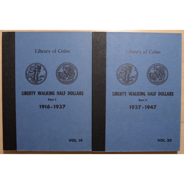 Library of Coins Volumes 19 and 20, Liberty Walking Half Dollars, Part 1 (1916-1937), Part 2 (1937-1947), Complete Album Set