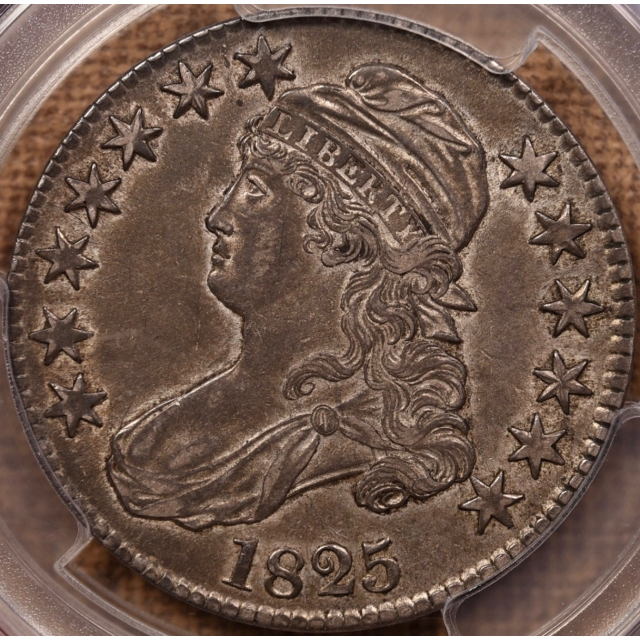 1825 O.111 Capped Bust Half Dollar PCGS AU50 CAC