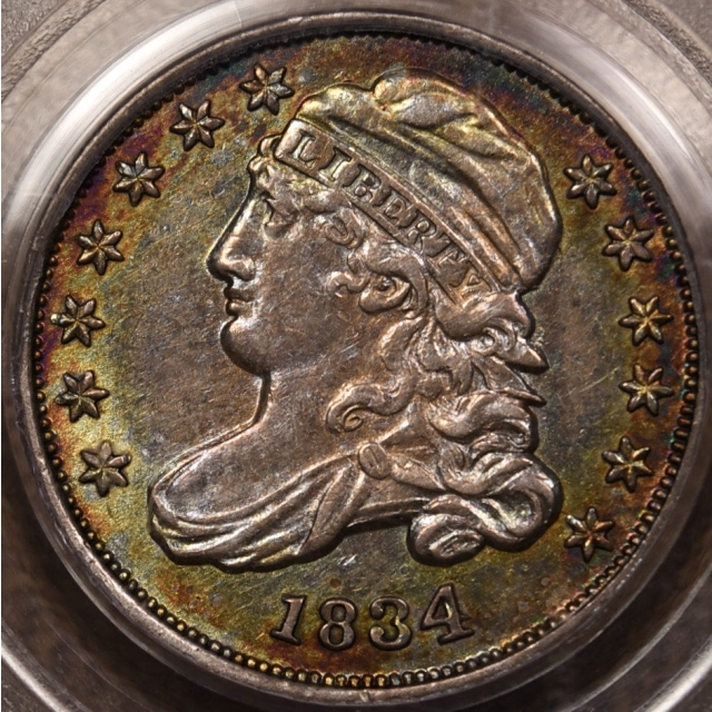 1834 1JR-5 Large 4 Capped Bust Dime PCGS AU55 CAC, COLOR!!