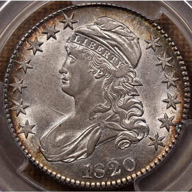 1820 O.106 Square 2, Large Date, No Knob Capped Bust Half Dollar PCGS AU55