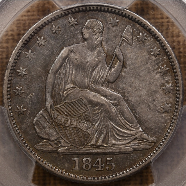 1845 WB-2 LDS Liberty Seated Half Dollar PCGS XF45, DID NOT CAC???
