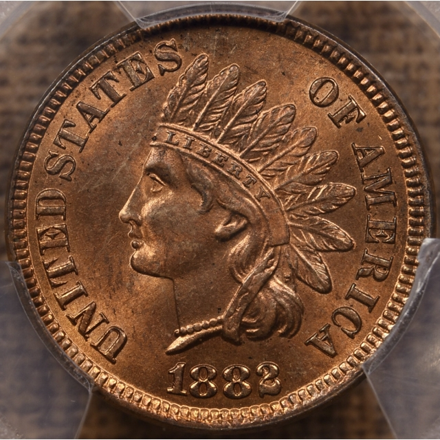 1882 Indian Cent PCGS MS64 RB CAC, PQ+, looks RD