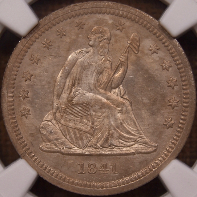 1841-O B.2/C Double Die Obverse Seated Liberty Quarter NGC MS62, New Orleans Bank Find