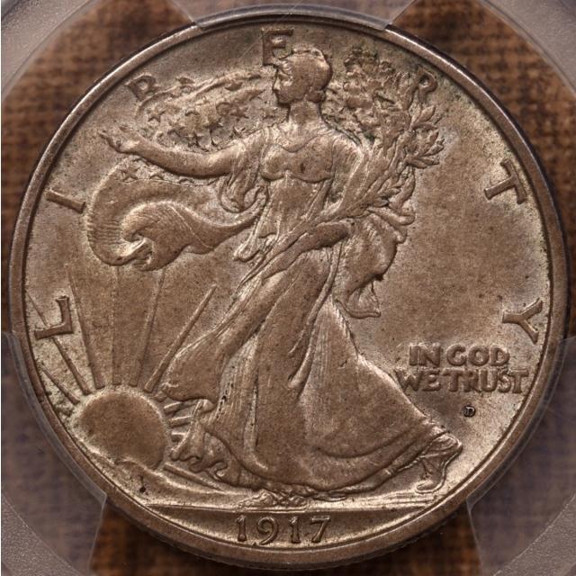 1917-D Obverse Walking Liberty Half Dollar PCGS AU55 CAC, TIAN Collection