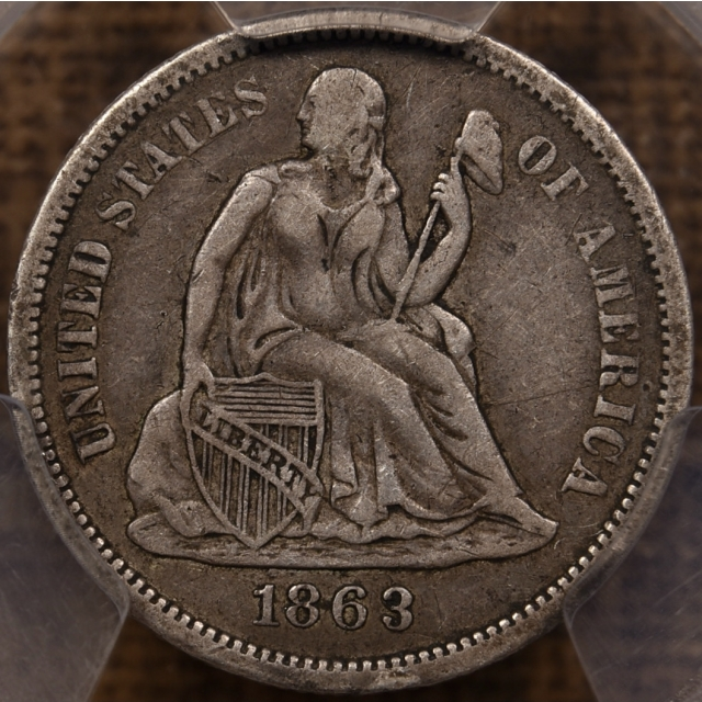 1863-S Liberty Seated Dime PCGS VF35 CAC
