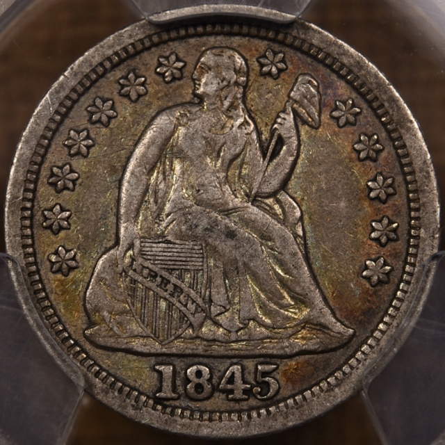 1845 Liberty Seated Dime PCGS VF35