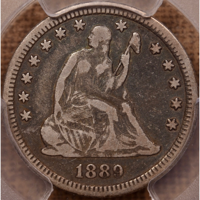 1889 Liberty Seated Quarter PCGS F15 CAC