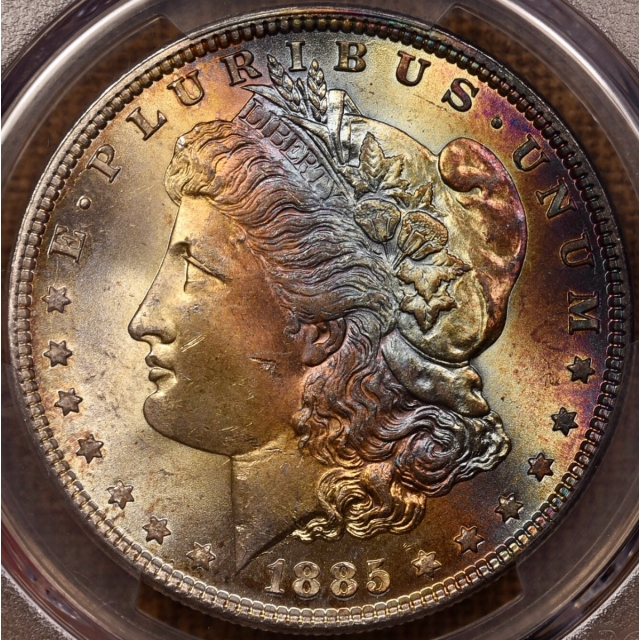 1885 Morgan Dollar PCGS MS64 CAC, Holy $#!& color!!!