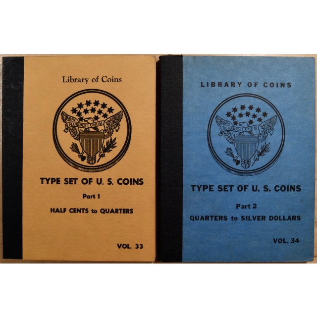 Library of Coins Volumes 33 and 34, Type Set of U.S. Coins, Parts 1 and 2 Complete (Half Cents to Silver Dollars)