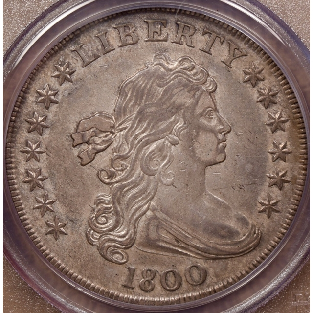 1800 BB-189 B.5 Draped Bust Dollar PCGS AU53 CAC, ex. Miller, EJ part 3