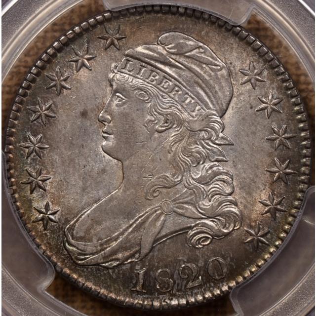 1820 O.108 Square 2, Large Date, No Knob Capped Bust Half Dollar PCGS AU55