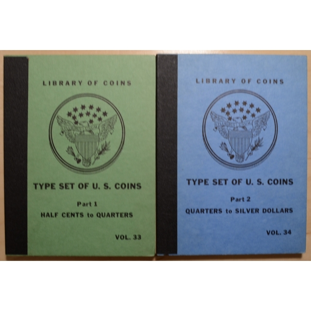 Library of Coins Volumes 33 and 34, Type Set of U.S. Coins Part 1 (Half Cents to Quarters), Part 2 (Quarters to Silver Dollars), Complete Set