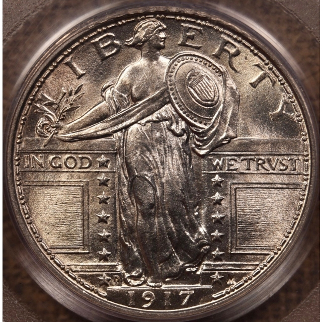 1917-D Type 1 Standing Liberty Quarter PCGS MS63 FH CAC OGH