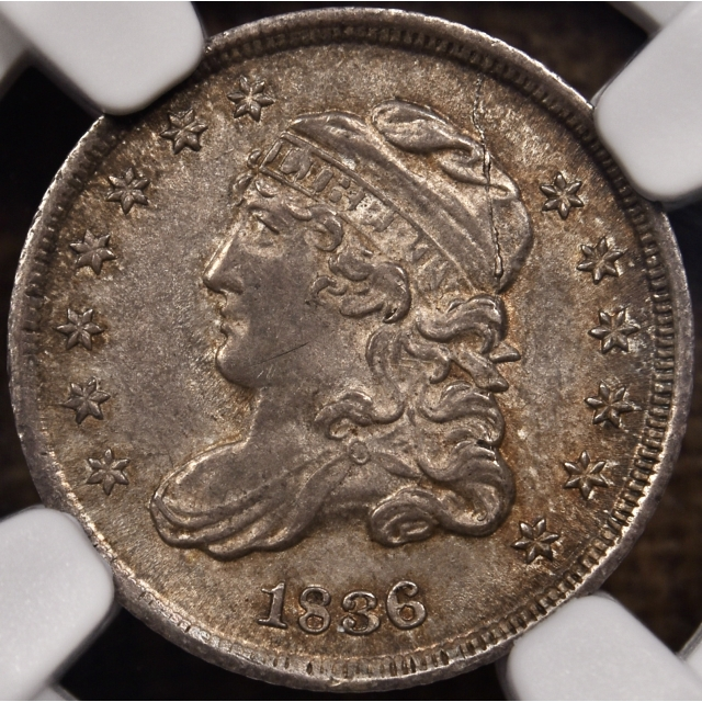 1836 LM-3 3 / inverted 3 Capped Bust Half Dime NGC MS62
