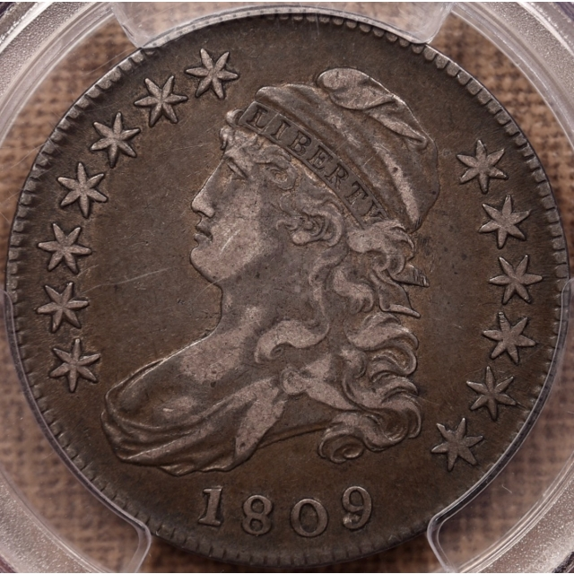 1809 O.115 Capped Bust Half Dollar PCGS VF35, Early Die State