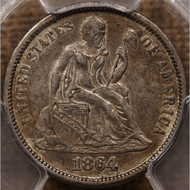 1864-S Liberty Seated Dime PCGS XF45
