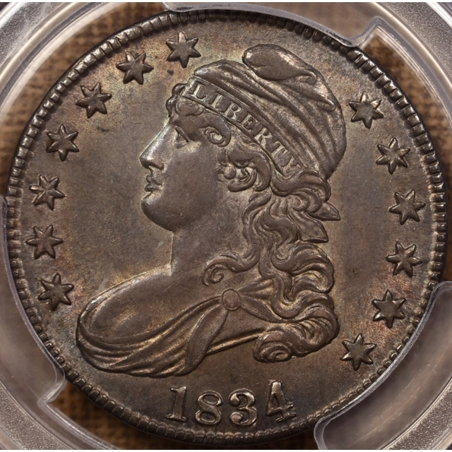 1834 O.106 Large Date, Small Letters Capped Bust Half Dollar PCGS MS62
