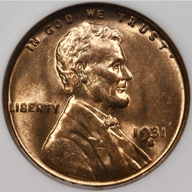 1931-S Lincoln Cent old ANACS MS64 RD, 1989 Collection
