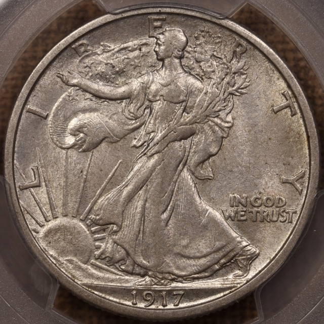 1917-D Reverse Walking Liberty Half Dollar PCGS AU58 CAC, TIAN Collection