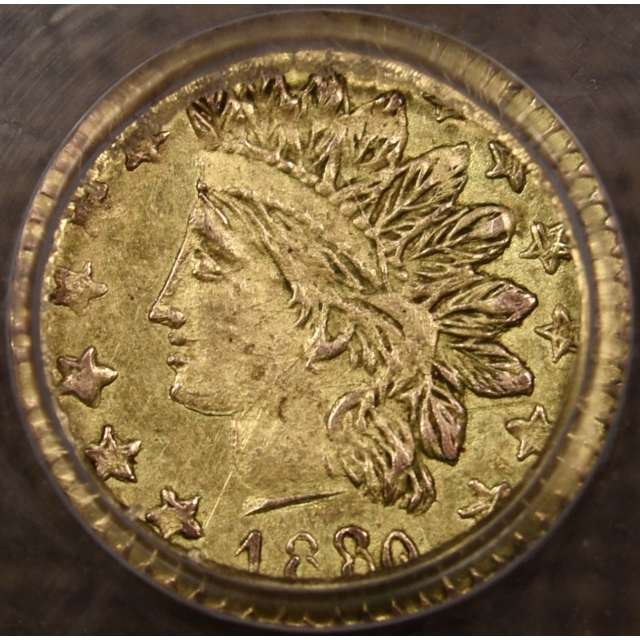1880/76 BG-885 California Fractional 25c Gold PCGS AU58