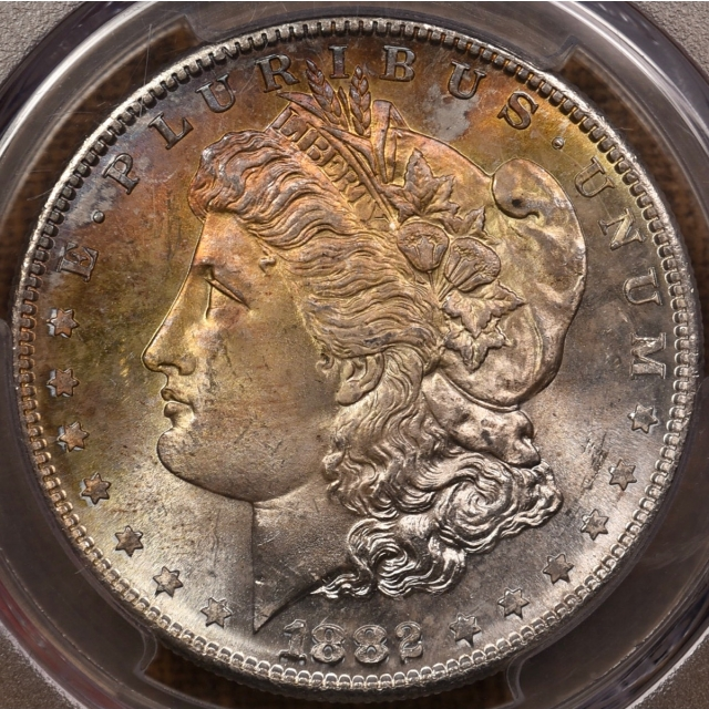1882-S Morgan Dollar PCGS MS66 CAC, Obv rainbow