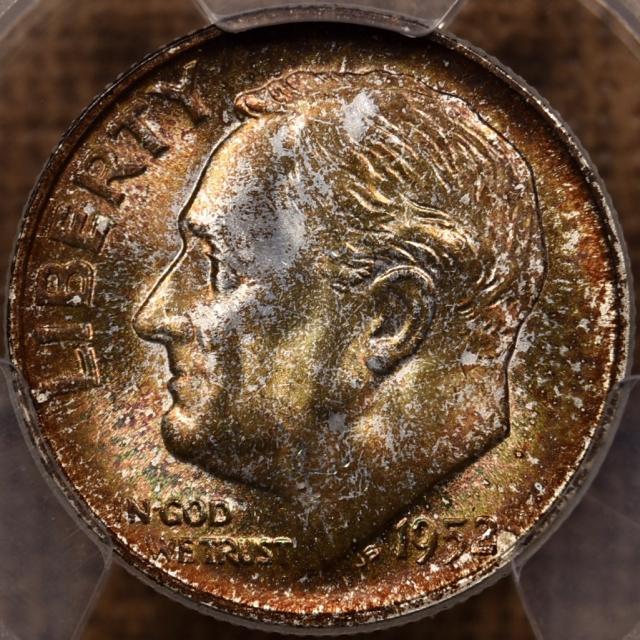 1952-S Roosevelt Dime PCGS MS67, Mint Set toning