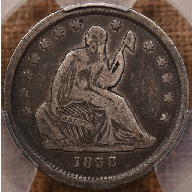 1838 No Drapery Liberty Seated Quarter PCGS F15