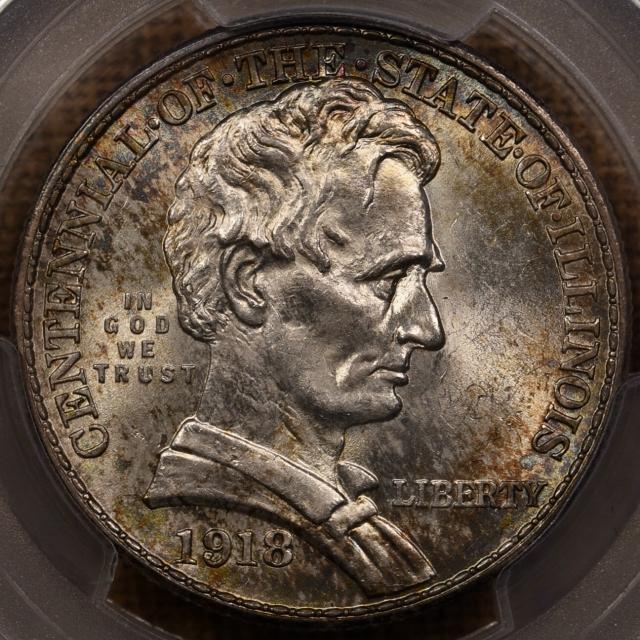 1918 Lincoln Silver Commemorative PCGS MS65