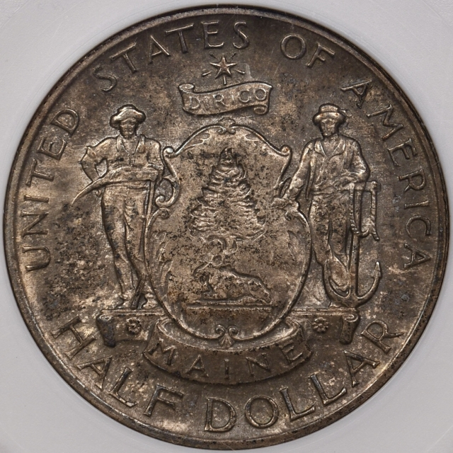 1920 Maine Silver Commemorative ANACS MS64, super-cool old holder